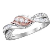 0.20 CTW Diamond 3-stone Bridal Engagement Ring 10KT Two-tone Gold - REF-22W4K