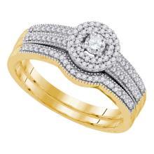 0.33 CTW Diamond Halo Bridal Engagement Ring 10KT Yellow Gold - REF-44W9K