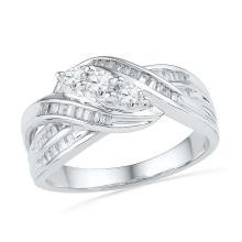 0.50 CTW Diamond 3-Stone Crossover Ring 10KT White Gold - REF-49W5K