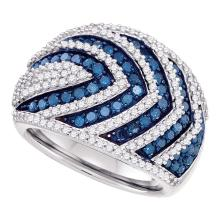 1.75 CTW Blue Color Diamond Fashion Ring 10KT White Gold - REF-97X4Y