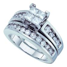 1.5 CTW Princess Diamond Bridal Engagement Ring 14KT White Gold - REF-194Y9X