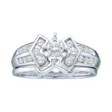 0.25 CTW Diamond Bridal Wedding Engagement Ring 14KT White Gold - REF-41N2F