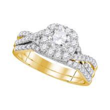1 CTW Diamond Halo Bridal Engagement Ring 14KT Yellow Gold - REF-172Y4X