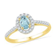 0.58 CTW Oval Created Aquamarine Solitaire Diamond Ring 10KT Yellow Gold - REF-22Y4X