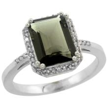 Natural 2.63 ctw Smoky-topaz & Diamond Engagement Ring 10K White Gold - REF-32H7W