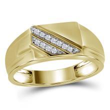 0.08 CTW Mens Diamond Diagonal Row Flat Top Fashion Ring 10KT Yellow Gold - REF-18F2N