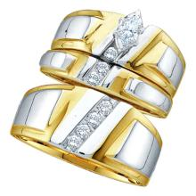 0.25 CTW His & Hers Marquise Diamond Solitaire Matching Bridal Ring 10KT Yellow Gold - REF-49N5F