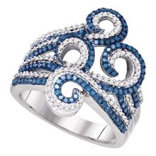 0.77 CTW Blue Color Diamond Wide Swirl Curl Cocktail Ring 10KT White Gold - REF-59W9K
