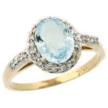 Natural 1.13 ctw Aquamarine & Diamond Engagement Ring 14K Yellow Gold - REF-36W2K