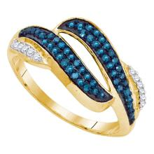 0.33 CTW Blue Color Diamond Bypass Double Row Ring 10KT Yellow Gold - REF-19W4K