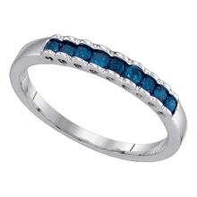 0.25 CTW Princess Blue Color Diamond Ribbed Ring 10KT White Gold - REF-12X2Y