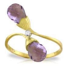 Genuine 2.52 ctw Amethyst & Diamond Ring Jewelry 14KT Yellow Gold - REF-25Y6F