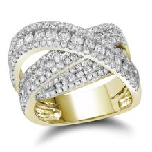 2 CTW Diamond Crossover Fashion Ring 10KT Yellow Gold - REF-194K9W