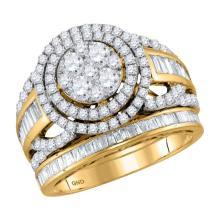 1.94 CTW Diamond Halo Bridal Engagement Ring 14KT Yellow Gold - REF-179M9H