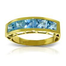 Genuine 2.25 ctw Blue Topaz Ring Jewelry 14KT Yellow Gold - REF-54V2W