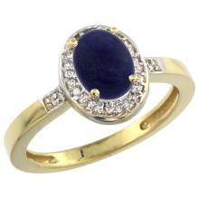 Natural 0.83 ctw Lapis & Diamond Engagement Ring 10K Yellow Gold - REF-24Z5Y
