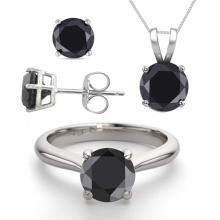 14K White Gold Jewelry SET 3.20CTW Black Diamond Ring, Earrings, Necklace - REF#199R8X-WJ13342