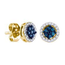 0.25 CTW Blue Color Diamond Cluster Stud Screwback Earrings 10KT Yellow Gold - REF-18K7W