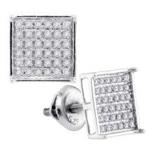 0.23 CTW Diamond Square Cluster Earrings 14KT White Gold - REF-19Y4X