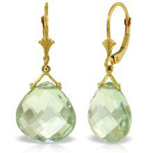 Genuine 17 ctw Green Amethyst Earrings Jewelry 14KT Yellow Gold - REF-38N2R