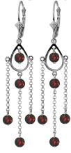 Genuine 3 ctw Garnet Earrings Jewelry 14KT White Gold - REF-48M9T