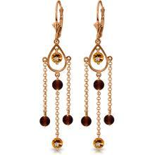 Genuine 3 ctw Citrine & Garnet Earrings Jewelry 14KT Rose Gold - REF-48H9X