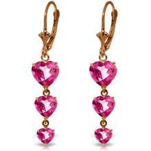 Genuine 6 ctw Pink Topaz Earrings Jewelry 14KT Rose Gold - REF-68F4Z