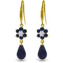 Genuine 7.61 ctw Sapphire & Diamond Earrings Jewelry 14KT Yellow Gold - REF-49R8P