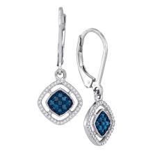 0.33 CTW Blue Color Diamond Dangle Earrings 10KT White Gold - REF-22M4H