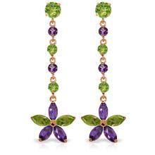 Genuine 4.8 ctw Peridot & Amethyst Earrings Jewelry 14KT Rose Gold - REF-56F8Z