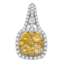 1.99 CTW Yellow Diamond Square Cluster Pendant 14KT White Gold - REF-240M2H