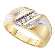 0.10 CTW Mens Diamond Wedding Anniversary Ring 10KT Yellow Two-tone Gold - REF-22K4W