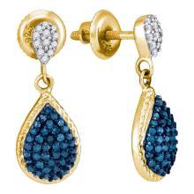 0.50 CTW Blue Color Diamond Teardrop Dangle Earrings 10KT Yellow Gold - REF-25K4W