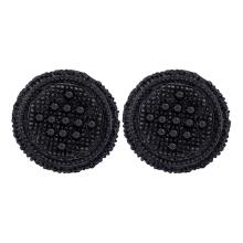 0.29 CTW Mens Black Color Diamond 3D Circle Cluster Earrings 10KT Black-tone Gold - REF-18W2K