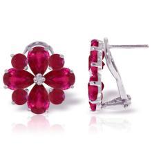 Genuine 4.85 ctw Ruby Earrings Jewelry 14KT White Gold - REF-71X8M