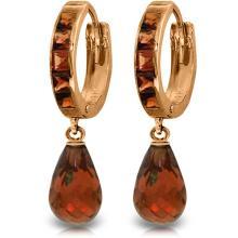 Genuine 5.35 ctw Garnet Earrings Jewelry 14KT Rose Gold - REF-43M6T