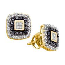 0.50 CTW Princess Black Color Diamond Square Earrings 14KT Yellow Gold - REF-41M9H