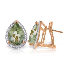 Genuine 6.82 ctw Amethyst & Diamond Earrings Jewelry 14KT Rose Gold - REF-119A7K