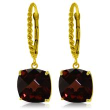 Genuine 9 ctw Garnet Earrings Jewelry 14KT Yellow Gold - REF-52F9Z