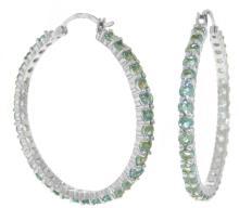 Genuine 6 ctw Blue Topaz Earrings Jewelry 14KT White Gold - REF-104K8V