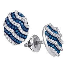 0.45 CTW Blue Color Diamond Oval Cluster Earrings 10KT White Gold - REF-26M9H