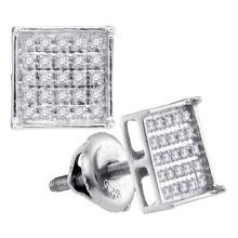0.15 CTW Diamond Square Cluster Stud Earrings 14KT White Gold - REF-13K4W