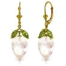 Genuine 25.5 ctw White Topaz & Peridot Earrings Jewelry 14KT Yellow Gold - REF-63N8R