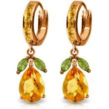 Genuine 14.3 ctw Peridot & Citrine Earrings Jewelry 14KT Rose Gold - REF-82K9V