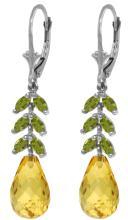 Genuine 11.20 ctw Citrine & Peridot Earrings Jewelry 14KT White Gold - REF-56X2M