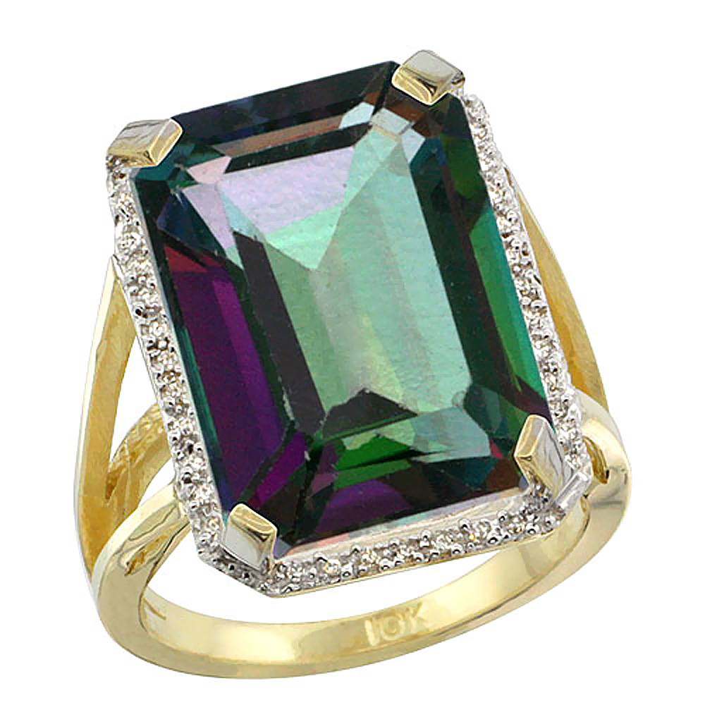 Natural 13.72 ctw Mystic-topaz & Diamond Engagement Ring 10K Yellow Gold - REF-65F2N