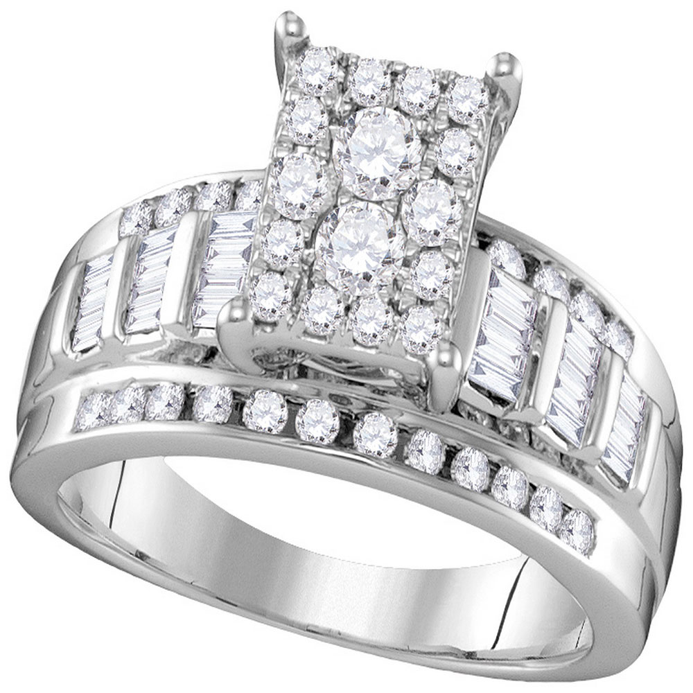 0.92 CTW Diamond Rectangle Cluster Bridal Engagement Ring 10KT White Gold - REF-67M4H