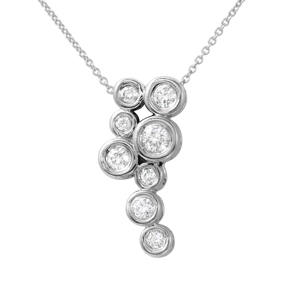 Natural 0.50 CTW Diamond Necklace 14K White Gold - REF-53M3F