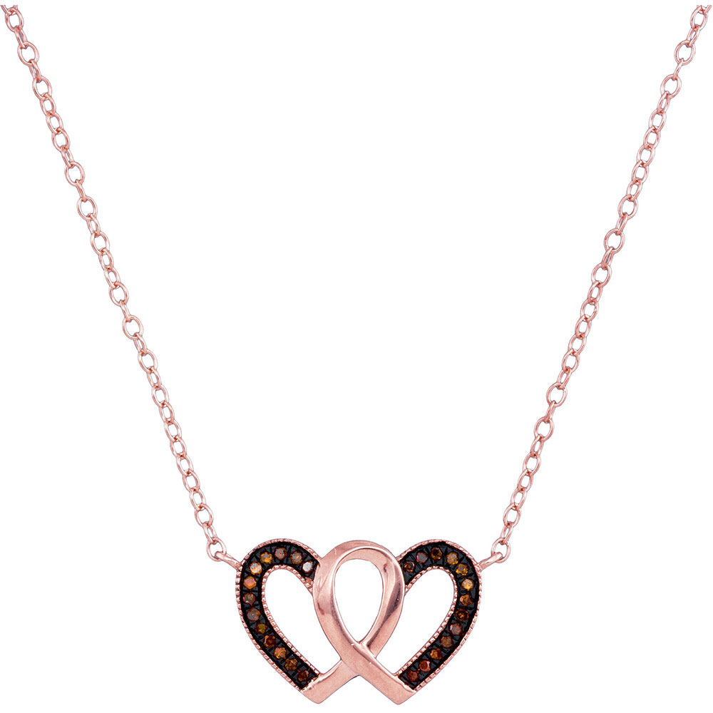 0.09 CTW Red Color Diamond Heart Love Necklace 10KT Rose Gold - REF-14M9H
