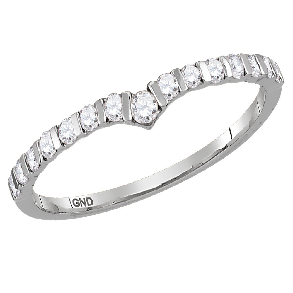 Lot 6108: 0.25 CTW Diamond Chevron Stackable Ring 10KT White Gold - REF-19Y4X